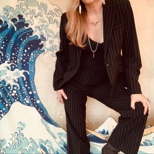 Vintage high waisted Amanda Smith pinstripe suit 8